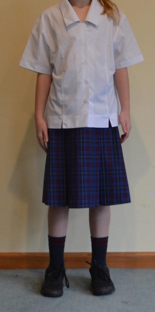 Summer skirt with white short-sleeved shirt